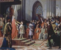 Maria of Molina presents her son Ferdinand IV, grandson of Prince Alfonso of Molina, to the Valladolid Cortes of Oil on canvas by Antonio Gisbert Pérez. my great grandmother Spanish Painters, Spanish Artists, Plantagenet, Medieval Life, Historical Images, Dark Ages, Art Boards, Painting & Drawing, Renaissance