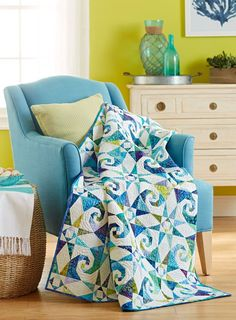 Download our foundation patterns, then get started on swirling patterns in  blue, green, purple, and aqua batiks.