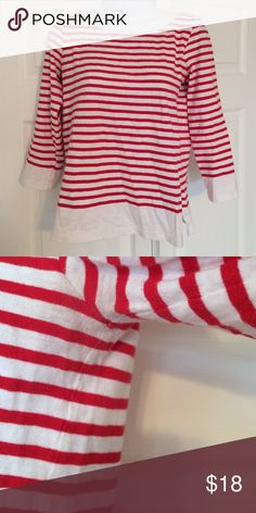 J. Crew Long Sleeve Shirt Red and white long sleeve shirt with 3/4 sleeves. No stains or pulls. Some wear under the arms (see pictures), but nothing is noticeable. J. Crew Tops Tees - Long Sleeve