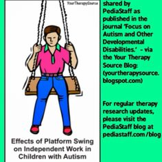 The Journal Focus on Autism and Other Developmental Disabilities published research of the effects of using a platform swing on independent work behaviors in children with autism spectrum disorders (ASD). The research was a pretest - posttest randomized design with 30 children with ASD.  All individuals in the study participated in 2 five minute intervals of independent work....  Like our instagram posts?  Please follow us there at instagram.com/pediastaff