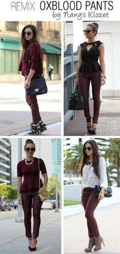 oxblood pants by nany's klozet,Love all these outfits except the top left! Fashion Photo, Love Fashion, Autumn Fashion, Fashion Outfits, Womens Fashion, Fashion Design, Oxblood Pants, Red Pants, Miami Fashion