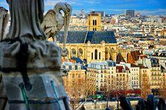 Gargoyles at Notre Dame de Paris #Paris #France #NotreDame #Cathedrals #Gargoyles #Statues