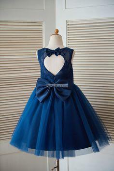 Navy Blue Lace Tulle Keyhole Back Wedding Flower Girl Dress