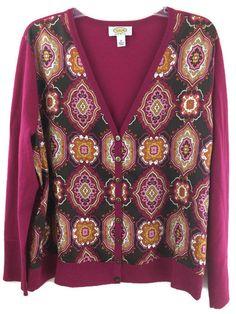 Talbots #WomensPlus Size 1X Silk Wool Cardigan Pink Print Light Button Sweater #Talbots #Cardigan