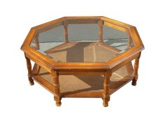 A Vintage Mid Century Modern Octagon Coffee Table With Cane Shelf And A