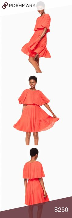 NWT Kate Spade Pleated Cape Dress Simply adorable Kate Spade Dress. Only tried on. Orange Pleated dress. Boatneck. Fit and flare. Zipper and hook and eye closure at back. Dry clean only. kate spade Dresses Mini