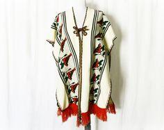 Vintage 70s Hippie Cape Birds Fringe Sweater Shall - PopFizzVintage, $45.00