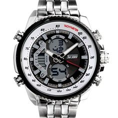 Efuture SKMEI Waterproof Sports LED LCD Men Analog Digital Watch with Silver Steel Band >>> Continue to the product at the image link.Note:It is affiliate link to Amazon.