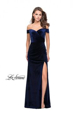 cdc4f59a44b2 La Femme 25213 is an off the shoulder Velvet prom gown that has a soft V  neckline, a cut out back, and a high slit in the fitted skirt.