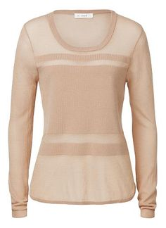 Viscose/Cotton/Spandex Stripe Panel Sweater. Comfortable yet neat fitting silhouette features a scoop neck, long sleeves and front striped panels. Available in Black and Light Tan as seen below.