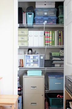 re-done office (organized closet desk files...) & Put up shelves in your closet to store your office documents ...