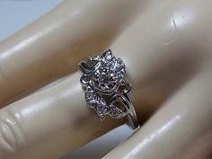 1930s Diamond Flower Ring .20Ctw White Gold 14K 3.18gm Size 7 Antique Engegement Ring or Wedding Ring