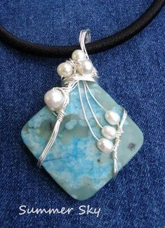 wire wrapped jewelry | Summer Sky Pendant (Customer Design) - Lima Beads