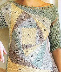 Mixed knitting and crochet summer jumper. Modular pattern starts with a square in the center; triangles are joined as they are knitted to make a spiral pattern of larger squares. Short sleeves in mesh pattern. Knitting For Kids, Knitting Socks, Baby Knitting, Crochet Blouse, Knit Crochet, Crochet Summer, Knitting Designs, Knitting Patterns, Crochet Patterns