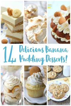 14 Delicious Banana Pudding Desserts Sweet Desserts, No Bake Desserts, Delicious Desserts, Banana Pudding Desserts, Banana Recipes, Pie Dessert, Dessert Ideas, Chocolate Roll, Rainbow Food