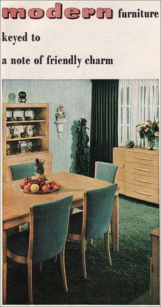 This Modern Heywood Wakefield dining room set appeared in the October 1947 American Home magazine. I prefer the 'dog bone' backed Heywood Wakefield dining chairs, myself.