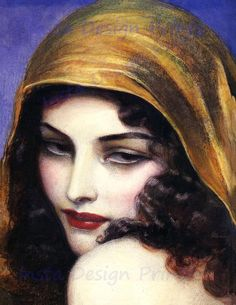 Vintage Art Deco Poster/Woman With Hood Art Vintage, Vintage Gypsy, Vintage Poster, Vintage Woman, Vintage Black, Gypsy Women, Art Nouveau, Woman Painting, Oeuvre D'art