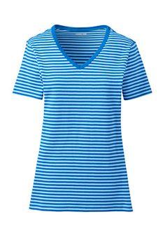 14807772a5e0ed Women s Cotton Rib V-Neck Stripe T-shirt