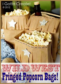 Easy and fun for parties or movie nights. Faux leather fringe popcorn bags by  I Gotta Create!