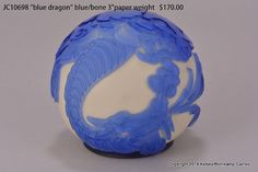 Blue Dragon Pilgrim Cameo Glass Paperweight with Dragon
