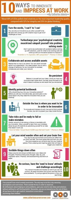 10 Ways to Innovate and Impress at Work (Infographic) Need to shine at work? Explore the Infographic on 10 ways to innovate and impress at work. It showcases 10 sure ways for you to innovate and impress at work Career Development, Professional Development, Personal Development, Professional Resume, Global Thinking, Amélioration Continue, Coaching Personal, Personal Trainer, Neuer Job