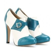 perky & sassy ankle boots :: white / teal brogued leather [charlotte olympia]