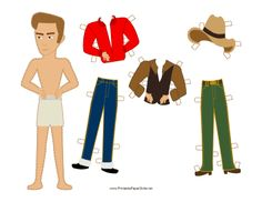 This James Dean rebel celebrity paper doll has coiffed hair, a cowboy hat and country western clothes. Free to download and print