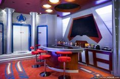 13 geek caves where fans can live out their nerdiest dreams | DVICE#5 At Home Movie Theater, Home Theater Design, Man Cave And Workshop, Star Trek Theme, Restaurant Chairs For Sale, Hotels, Home Movies, Garage Design, Room Themes