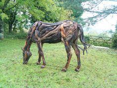 Life Size Driftwood Horse War Horse ChiselCraft Garden Sculpture Art | eBay
