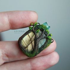 Labradorit stone with life's tree, mixed media and polymer clay jewerly