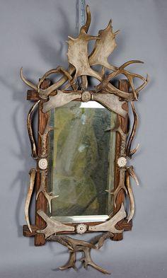 large black forest antler mirror ca. 1910