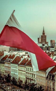 Polska flag in Old town Warszawa