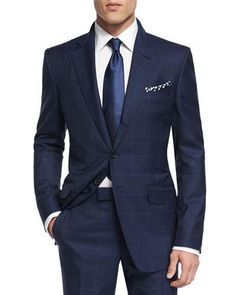 Window pane navy suit with a white shirt with a light blue silk tie with a patterned pocket square Mens Fashion Suits, Mens Suits, Fashion Outfits, Suit Men, Tom Ford Suit, Herren Outfit, Three Piece Suit, Men Formal, Well Dressed Men