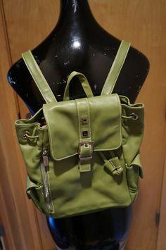 EUC PERLINA NEW YORK Green Leather Backpack Handbag #Perlina #BackpackStyle