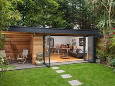 Summer House Garden, Garden Bar Shed, Garden Office, Home And Garden, Eco Casas, Outside Sheds, Contemporary Garden Rooms, Outside Seating Area, Garden Cabins