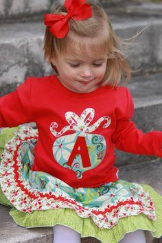 Christmas Ornament Initial Applique Shirt..