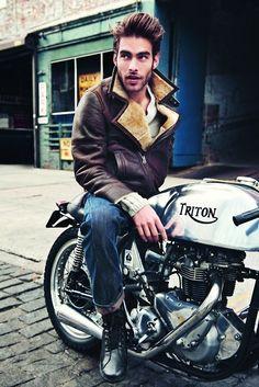 leather jacket lammy coat fashion men tumblr style streetstyle beard hair