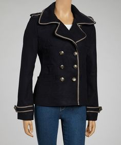 Take a look at this Navy Epaulette Peacoat on zulily today!