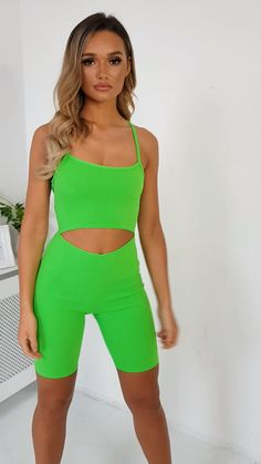 Neon green Imo Cut-Out Crossover Stretch Unitard. Stay on trend this summer with our IMO unitard! Summer Shorts Outfits, Summer Outfits Women, Short Outfits, Casual Outfits, Cute Outfits, Fashion Outfits, Rock And Roll Fashion, Thrift Fashion, Festival Outfits