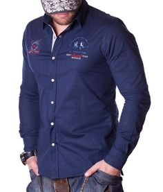 La Martina Guards Polo Club Shirt - Navy Color: navy Lined collar and placket La Martina branded buttons La Martina logo embroidery on the left chest side. Club Shirts, Polo Club, Navy Color, Long Sleeve Shirts, Shirt Dress, Designer Clothing, Mens Tops, Fashion, Couture Clothes
