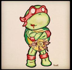 Ninja Turtle Zombie Cute Zombie, Zombie Art, Zombie Cartoon, Bff Tattoos, Ninja Turtles, Yoshi, Bowser, Peircings, Halloween