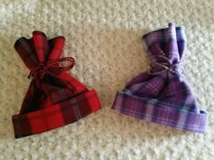 Red/purple plaid fleece hats by Happynightowls on Etsy
