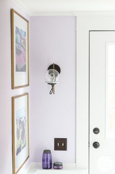 Ideas for adding the Finishing Touches for the Basement Stairwell including art and lighting via Inspired by Charm. Purple Bedroom Walls, Purple Wall Paint, Lilac Room, Purple Accent Walls, Lilac Walls, Lavender Walls, Lavender Bathroom, Purple Bedrooms, Bedroom Wall Colors