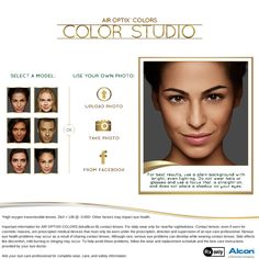 Try out the AIR OPTIX® COLORS Color Studio and virtually try on one (or all!) of our nine beautiful colors #Beauty #ColorStudio