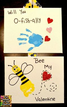 baby art Valentines day Hand and Footprints- will you O-fish-ally Bee my Valentine Kinder Valentines, Valentine Crafts For Kids, Funny Valentine, Baby Crafts, Infant Crafts, Valentine's Day Crafts For Kids, Fun Crafts, Christmas Crafts, Daycare Crafts