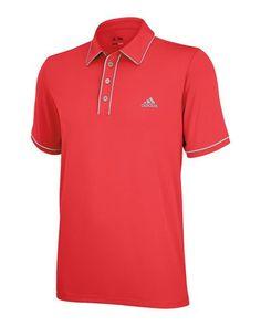 2013 adidas ClimaLite Piped Solid Golf Polo - Clima Lite Retro - Bright Coral / Chrome