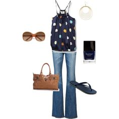 NAVY, created by brandy-bozeman-dyess on Polyvore...perfect for summer! (Actually I'd put on some wedges instead of flip flops)