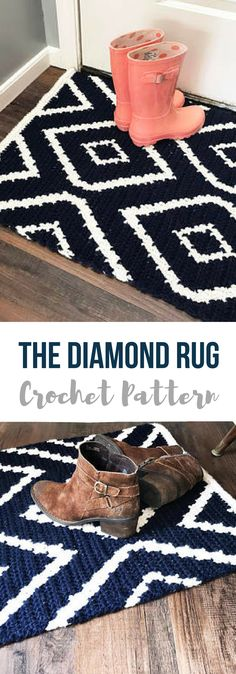 """Crochet Rug Pattern named the """"Diamond Crochet Rug Pattern"""" love this! so modern, perfect for inside the front door or even kitchen #crochetrugpattern #crochetrugs #crochetrugpatterns #crochet #affiliate #crochetpatternshome"""