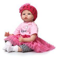 22 polegadas 55 cm de Silicone bebê reborn bonecas realistas recém-nascidos bebês da menina brinquedo para criança rosa princesa presente de aniversário de boneca brinquedos(China (Mainland))