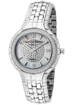 Price:$183.59 #watches Christian Bernard NA368ZWWI, Resplendent, sensuous and detailed, with a slightly curved glass and ribbon esges along the casee, expresses its very distinguished character Golden Mirror, Curved Glass, Designer Collection, Rolex Watches, Bracelet Watch, Christian, Silver, Ribbon, Accessories